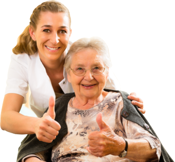 caregiver and elderly patient doing the okay sign